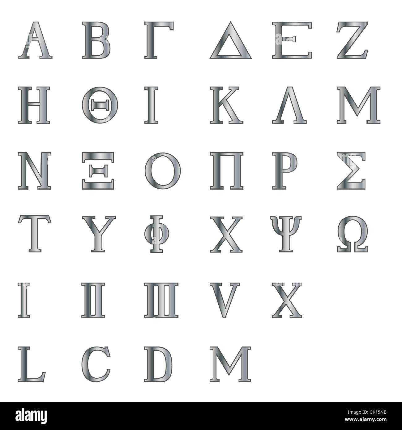 Greek Letters and Numbers Stock Vector Art & Illustration Vector