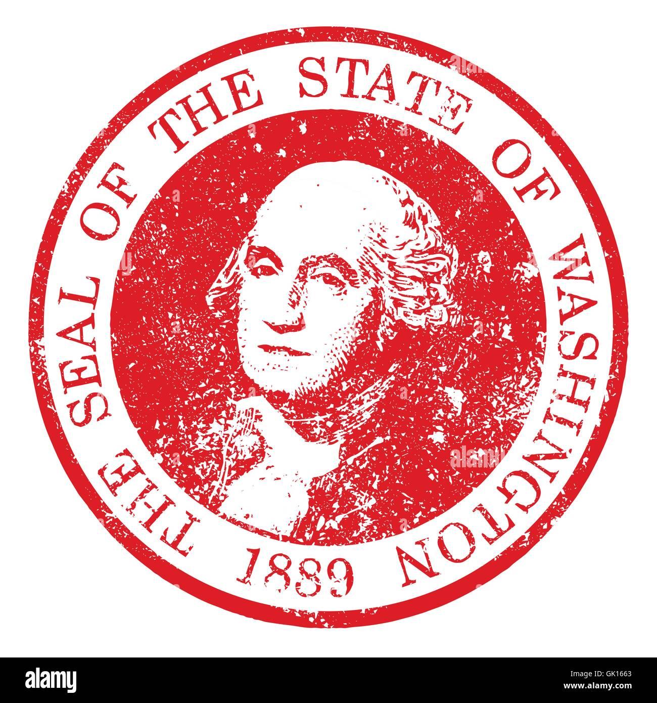 Washington State Seal Stamp - Stock Vector