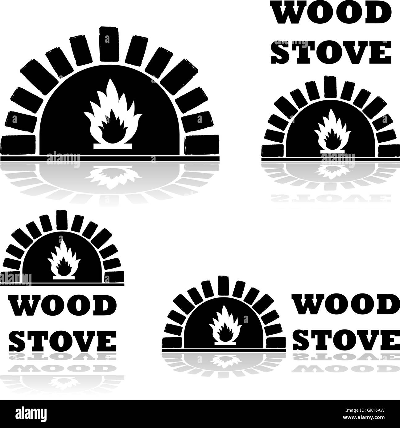 Wood stove - Stock Vector