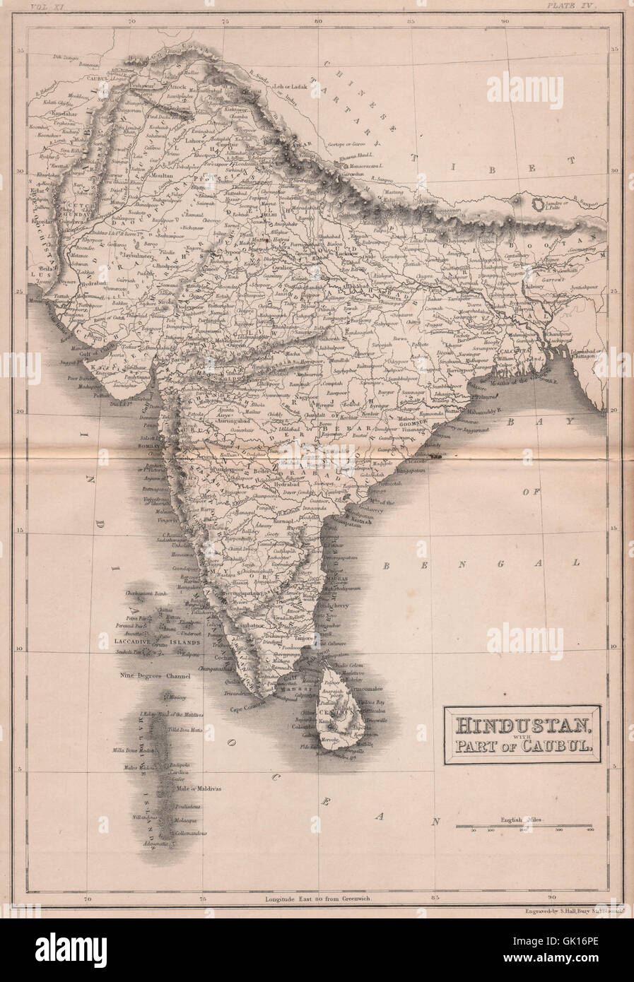 Hindustan, with part of Caubul. India Maldives Kabul. BRITANNICA, 1860 old map - Stock Image