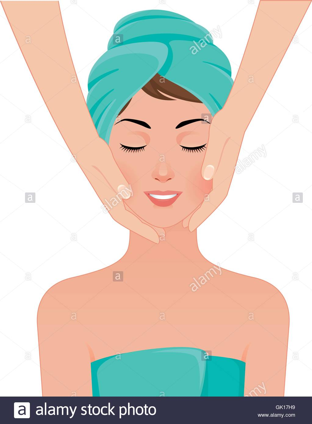 Girl gets a face massage in spa salon - Stock Vector