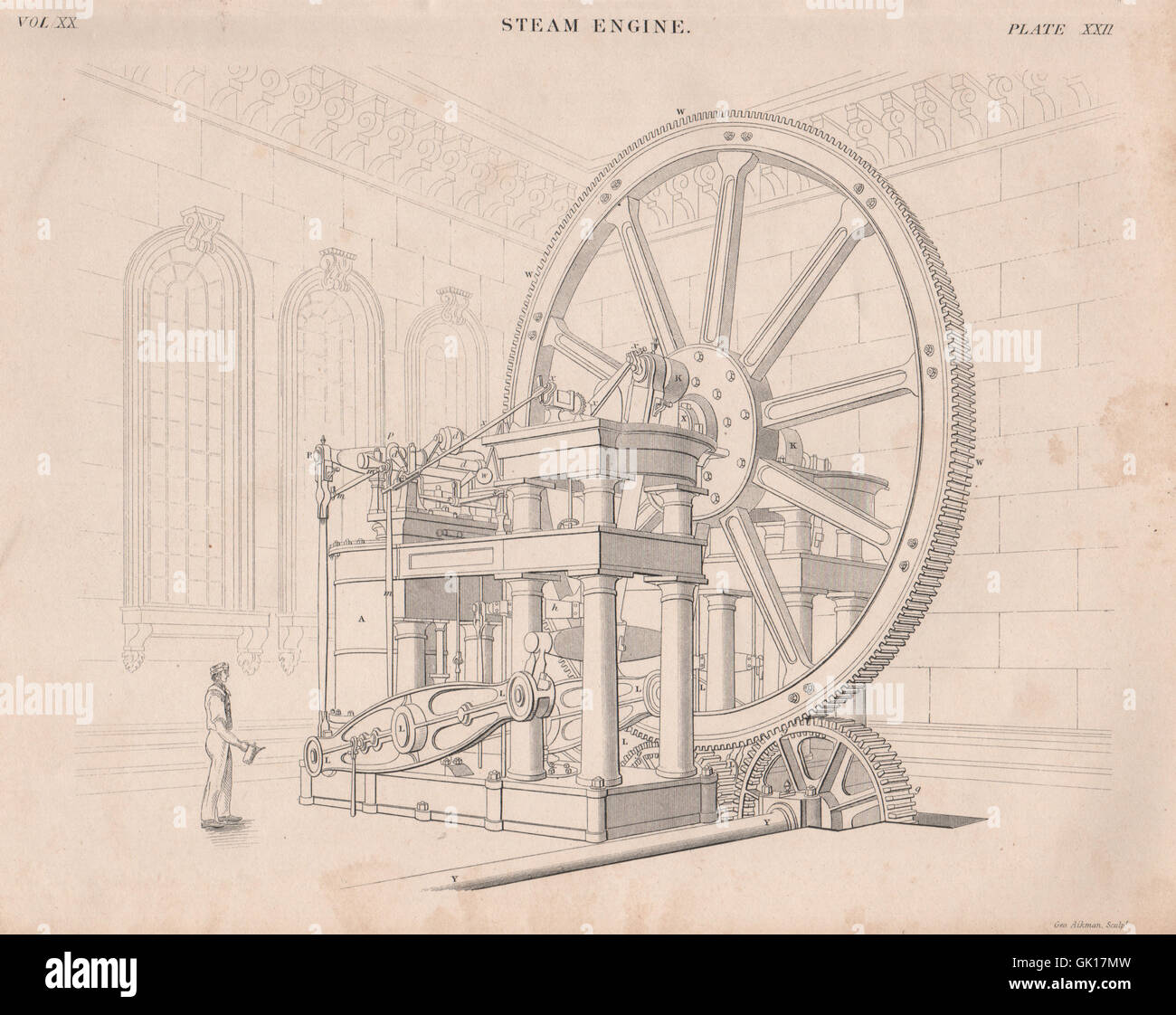 VICTORIAN ENGINEERING DRAWING. Steam engine, antique print 1860 Stock Photo