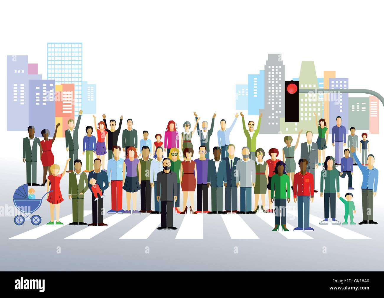 townspeople - Stock Vector