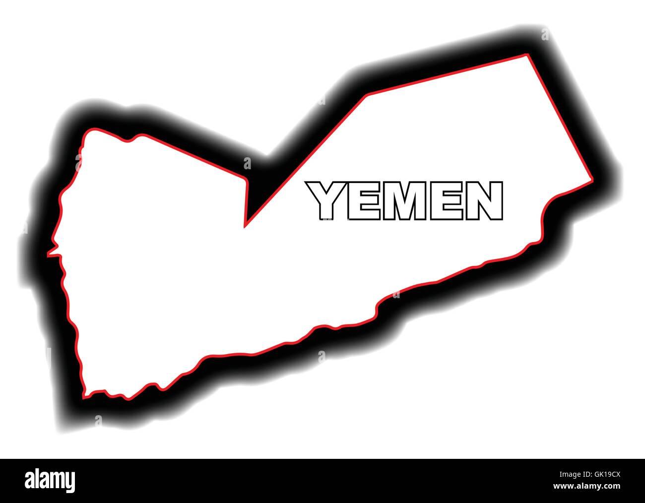 Outline Map of Yemen - Stock Image