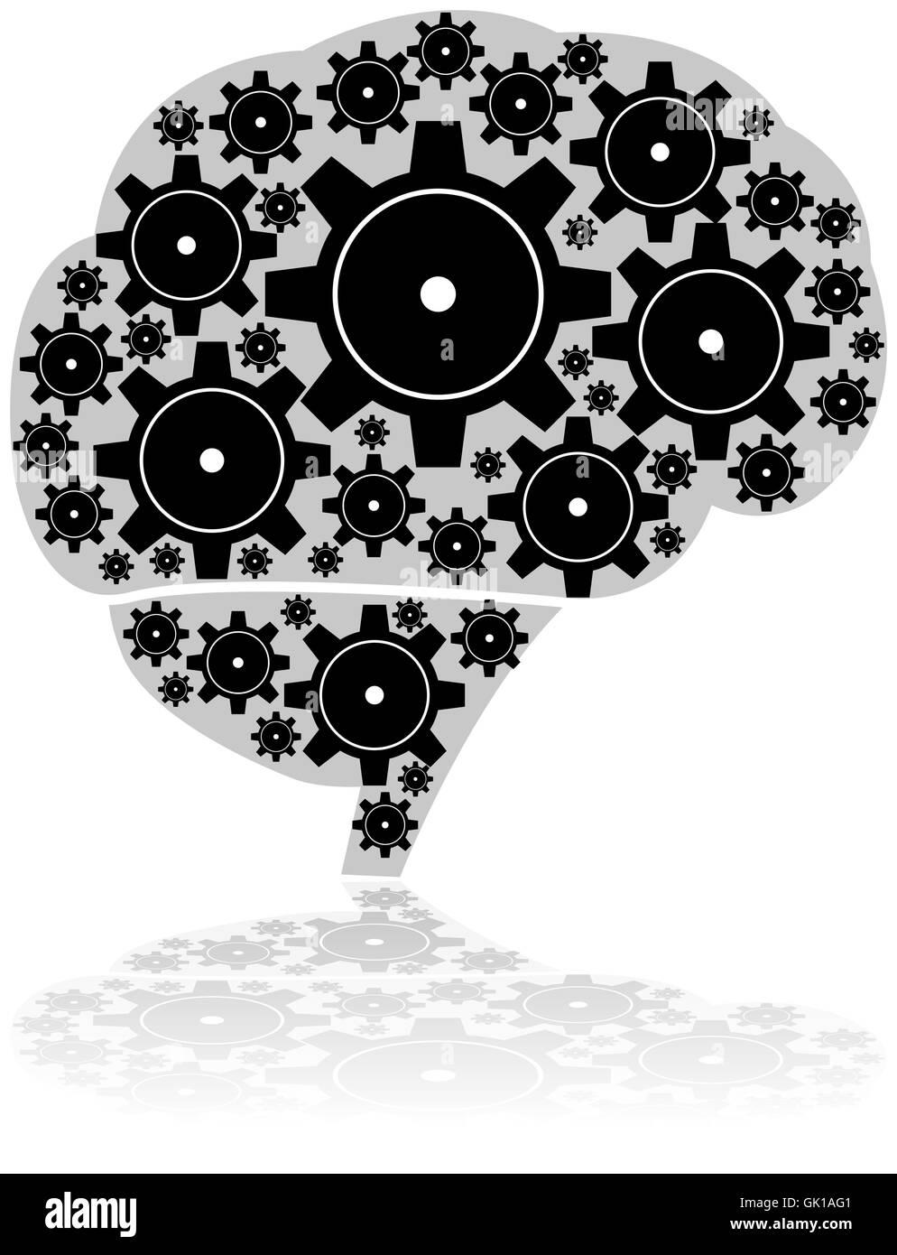 Brain gears - Stock Image