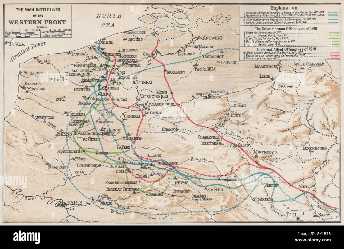Belgium main battle lines of western front first world war ww1 belgium main battle lines of western front first world war ww1 1930 map gumiabroncs Gallery