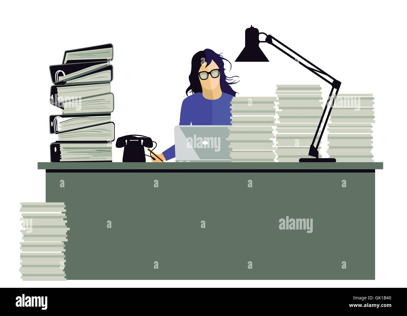 Work stress - Stock Vector