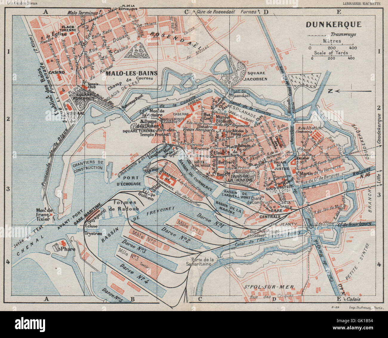 Dunkerque  Vintage Town City Map Plan  Nord  1930 Stock