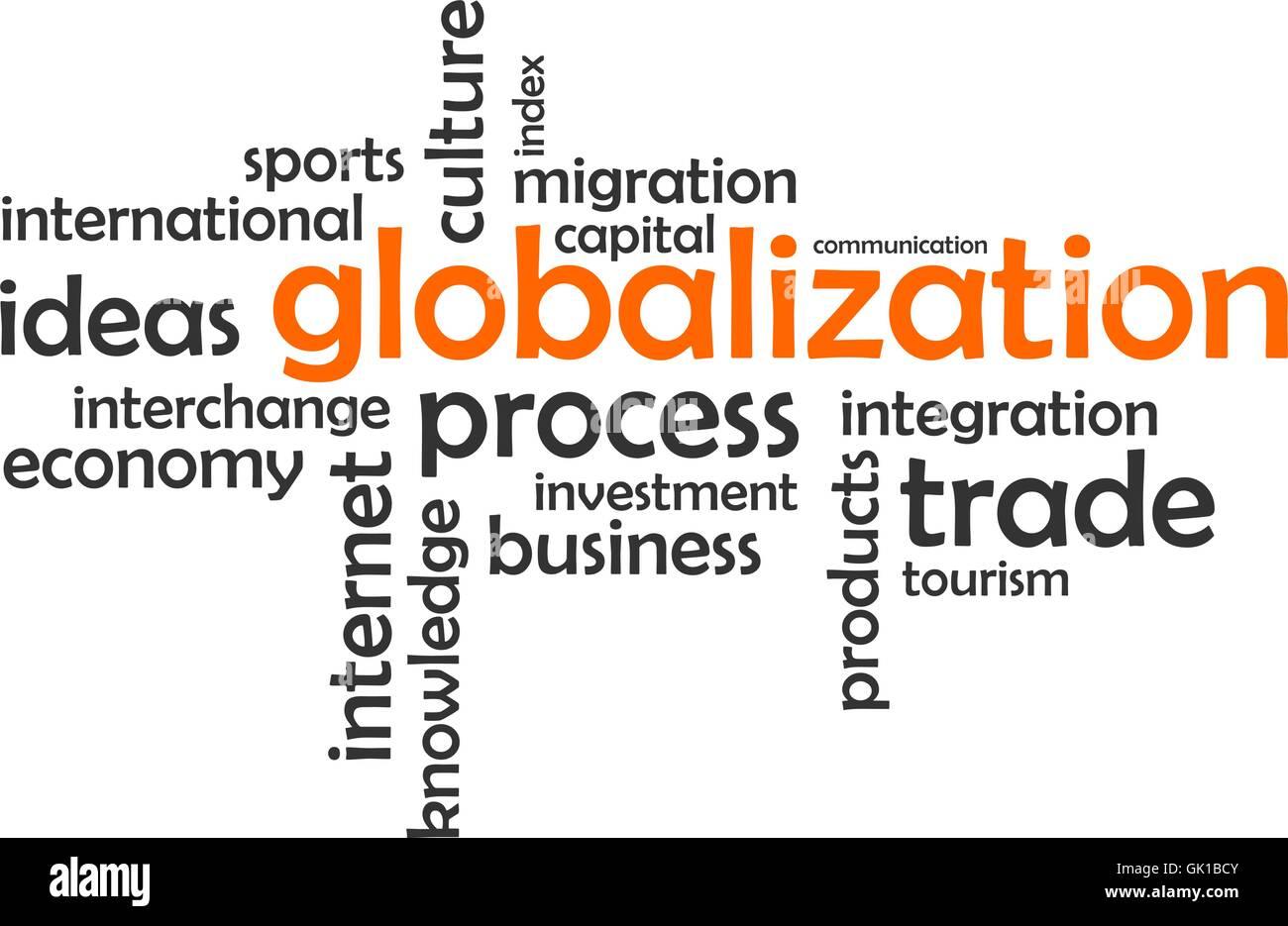 word cloud - globalization - Stock Image