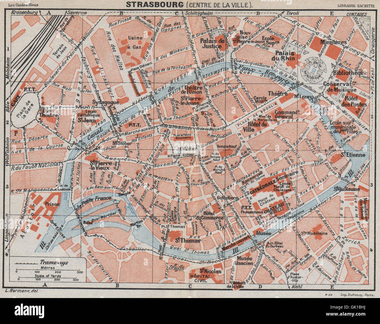 STRASBOURG. Centre de la ville. Vintage town city map plan carte ...