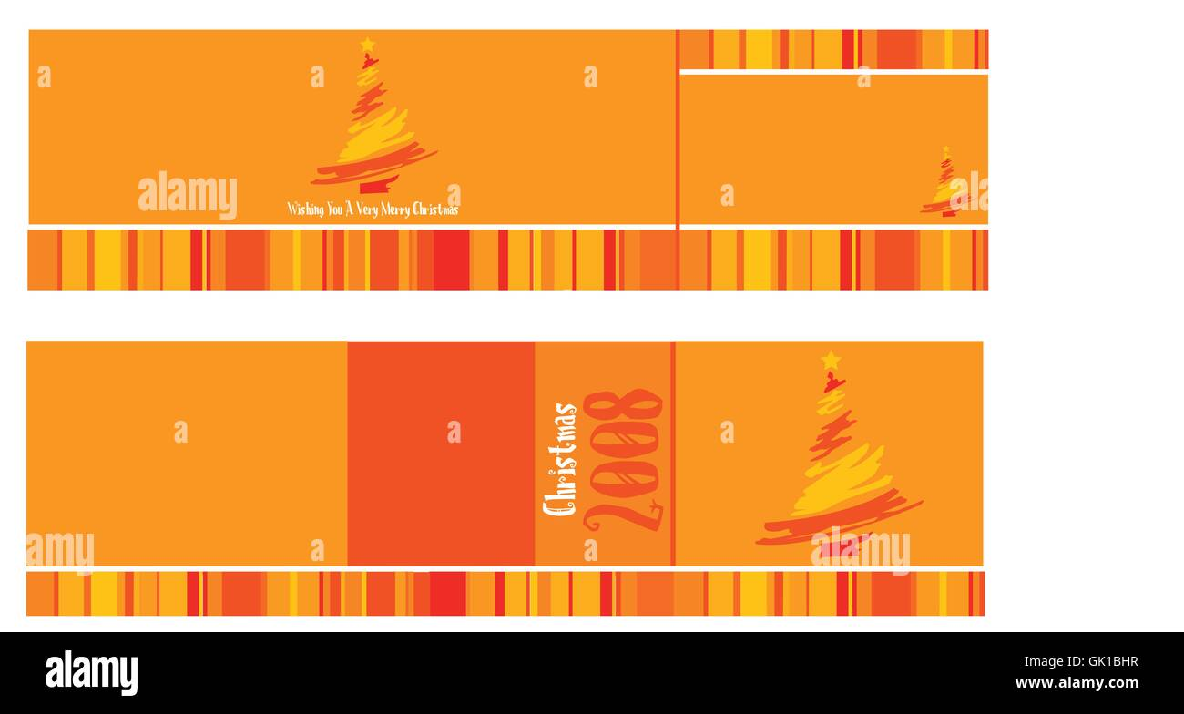 Christmas Card Orange - Stock Vector