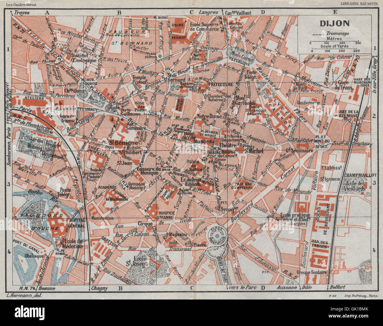 DIJON Vintage town city ville map plan carte CtedOr 1930 Stock