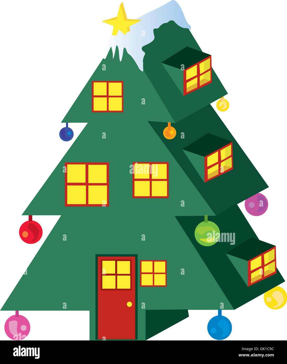 Christmas Tree House - Stock Vector