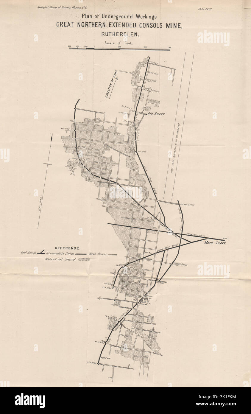 Map Of Northern Victoria Australia.Great Northern Extended Consols Mine Rutherglen Victoria Stock