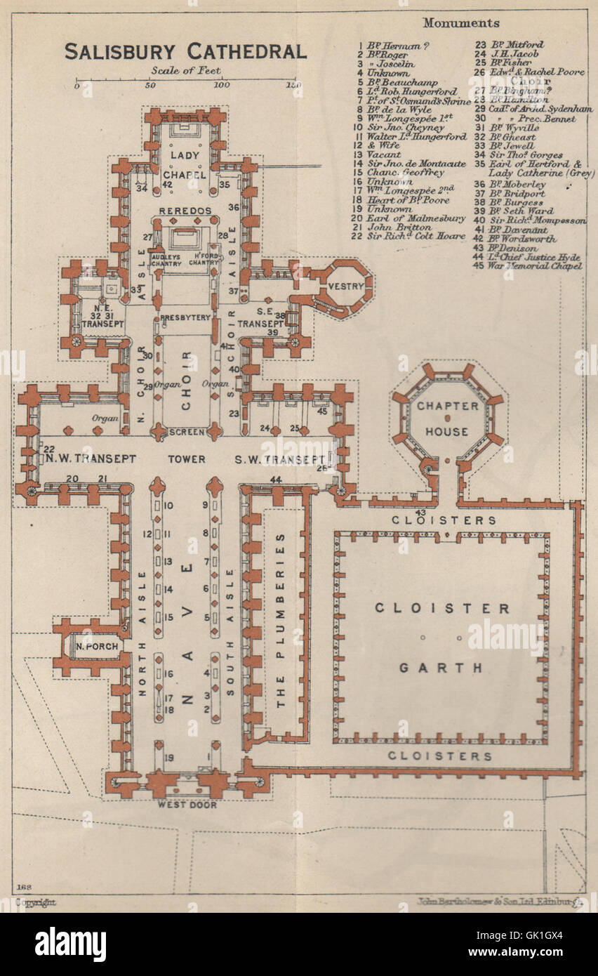 SALISBURY cathedral vintage floor plan Wiltshire 1939 vintage map