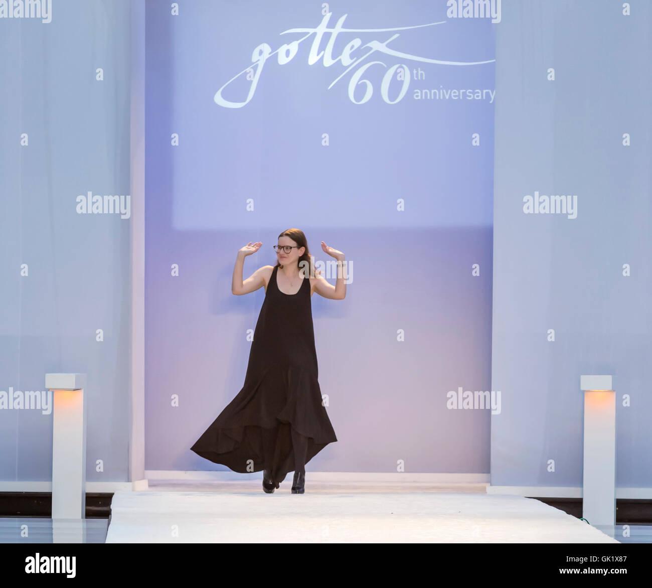 MIAMI BEACH, FL - JULY 16, 2016: Designer Karen Gasner walks the runway wearing Gottex 2017 Collection at SwimMiami - Stock Image