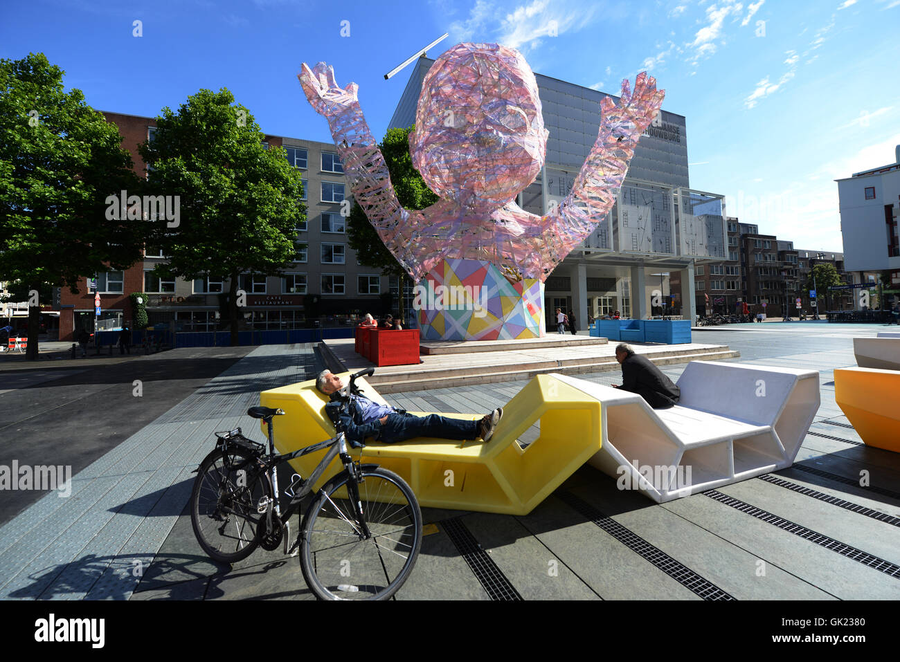 The colorful Schouwburgplein ( Theater square ) in Rotterdam. Stock Photo