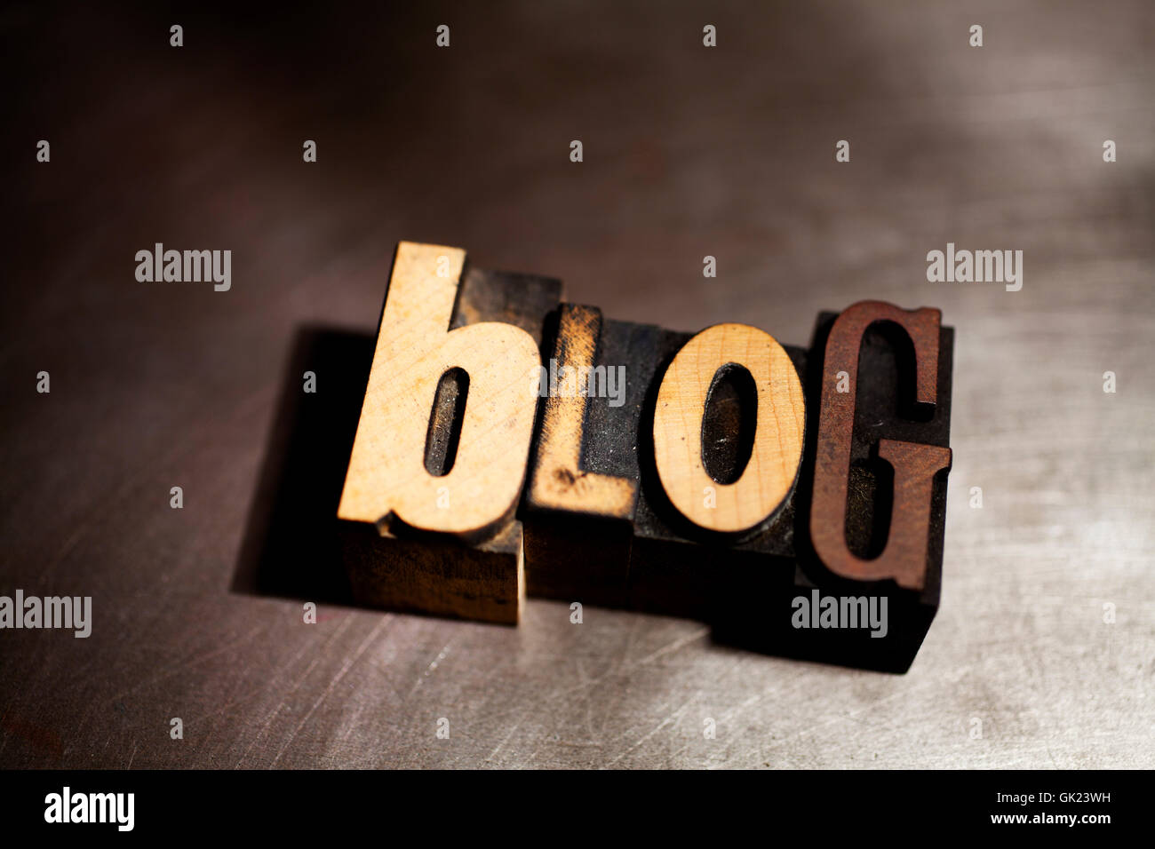 blog in wood type - Stock Image