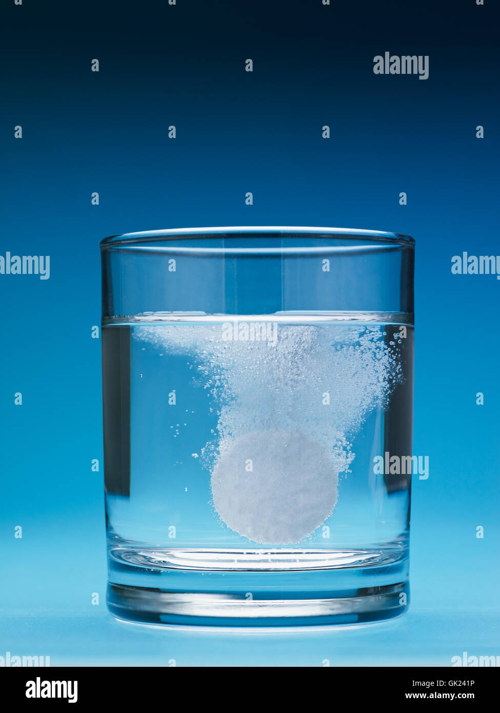 blue glass chalice - Stock Image