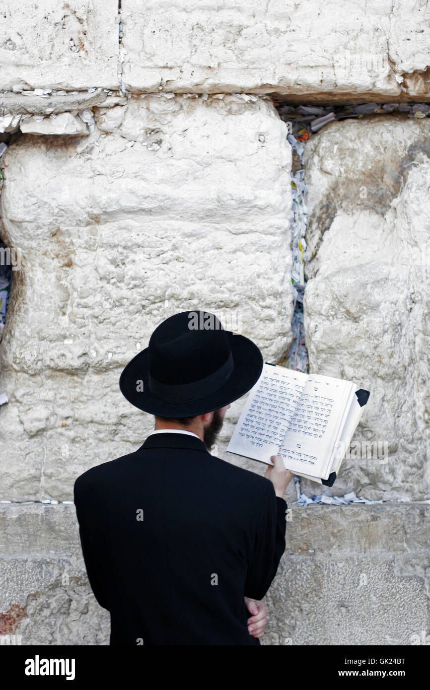 creditors prays at the western wall - Stock Image