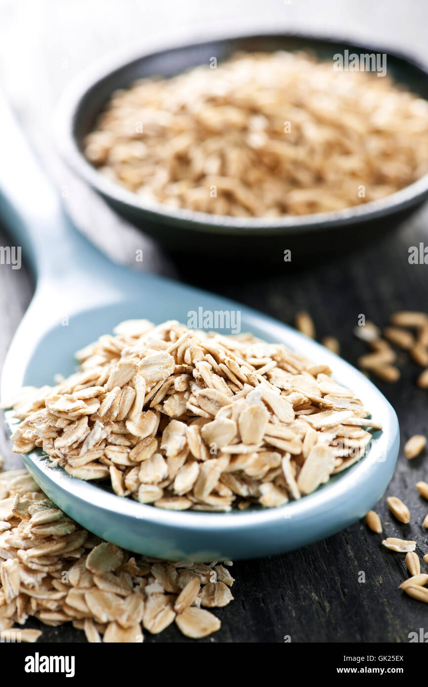 raw oats rolled - Stock Image