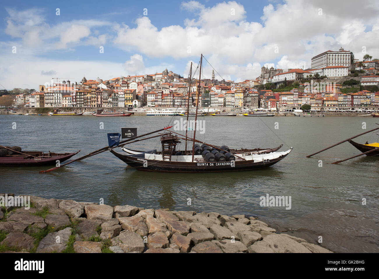 City of Porto in Portugal, traditional Rabelo Boat for wine transport on Douro River Stock Photo