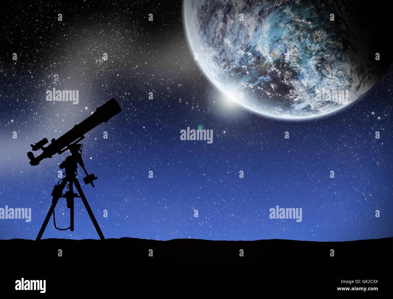 space moon telescope - Stock Image