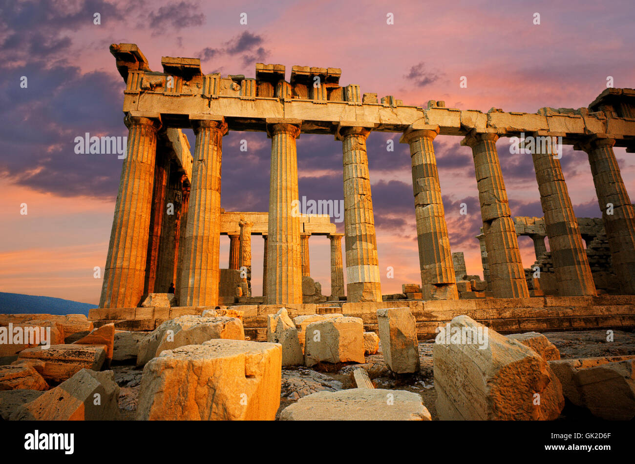 greece ruins style of construction Stock Photo