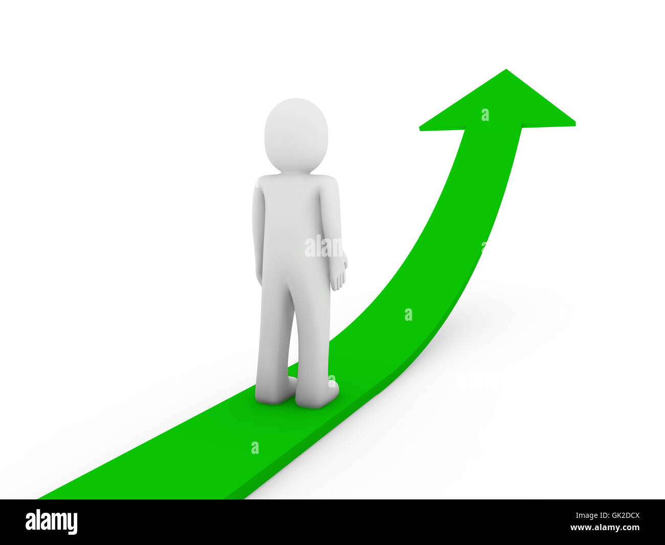 3d human green arrow growth - Stock Image