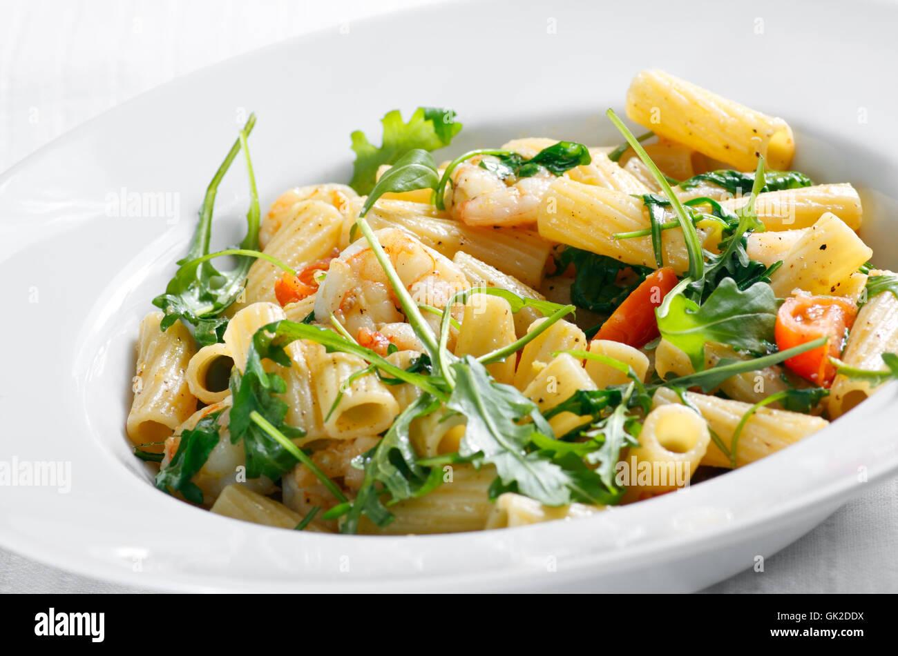 pasta with shrimp - Stock Image