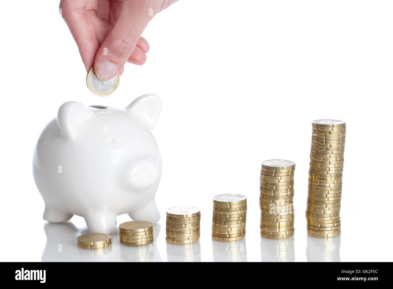 save growth piggybank - Stock Image