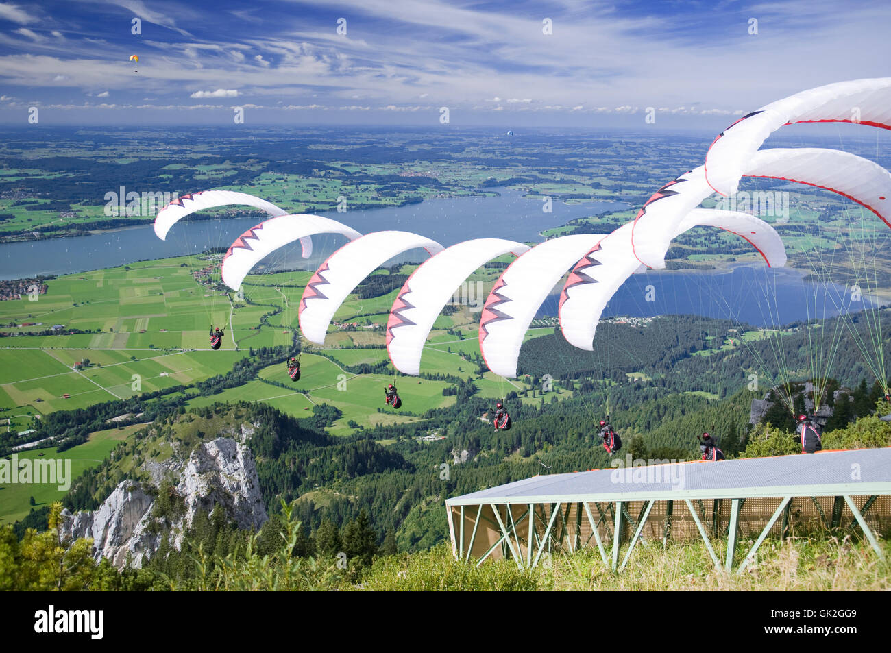 aviation sport sequence paraglider - Stock Image