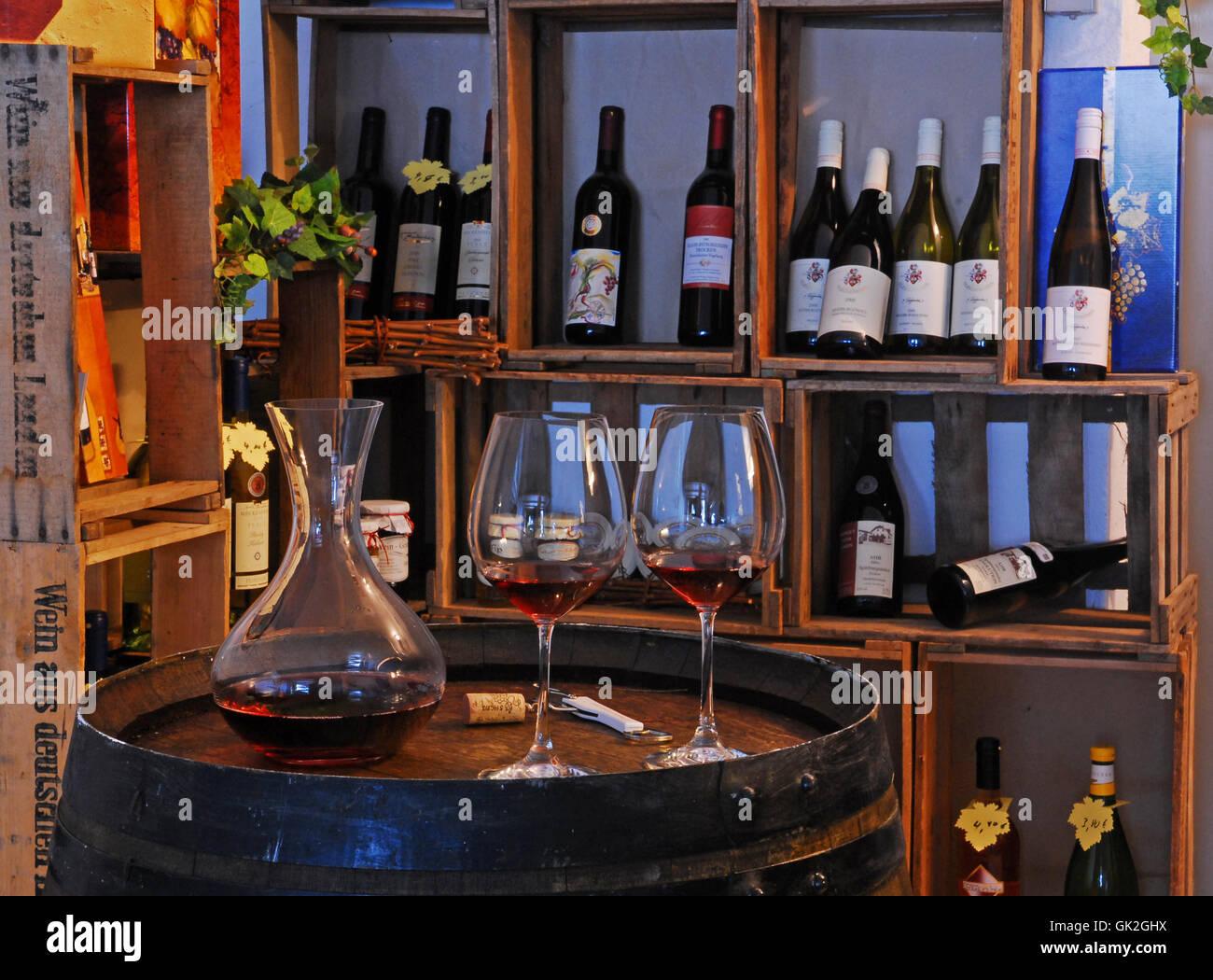 wine glasses carafe Stock Photo