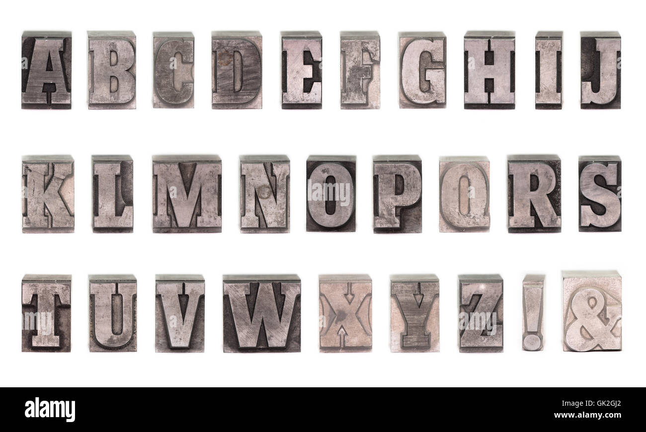 lead letter alphabet - Stock Image