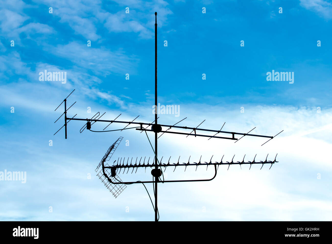 Antenna Tv Stock Photos Images Alamy Yagi Wiring Diagram Blue Television Image