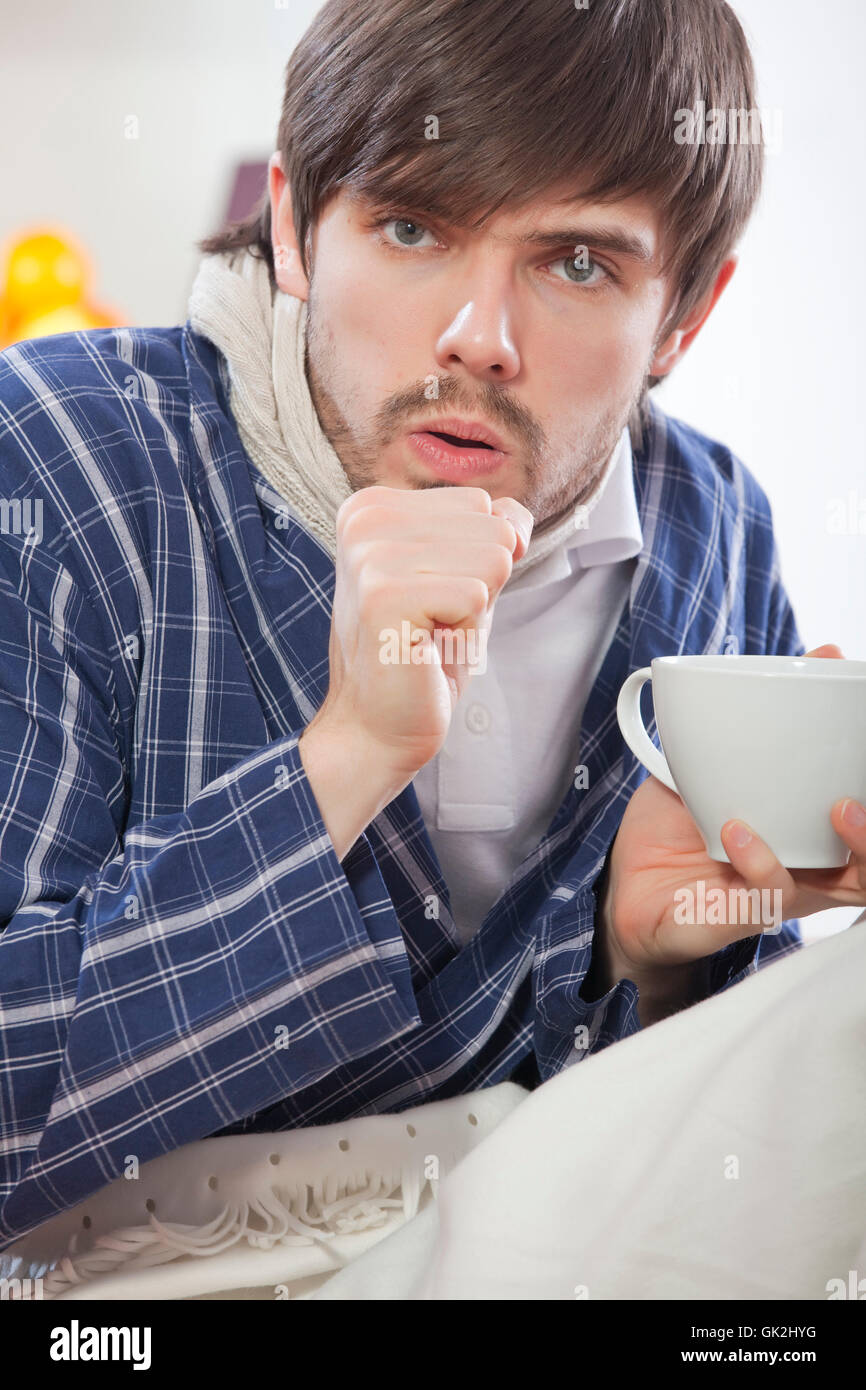 cup tea unwell - Stock Image