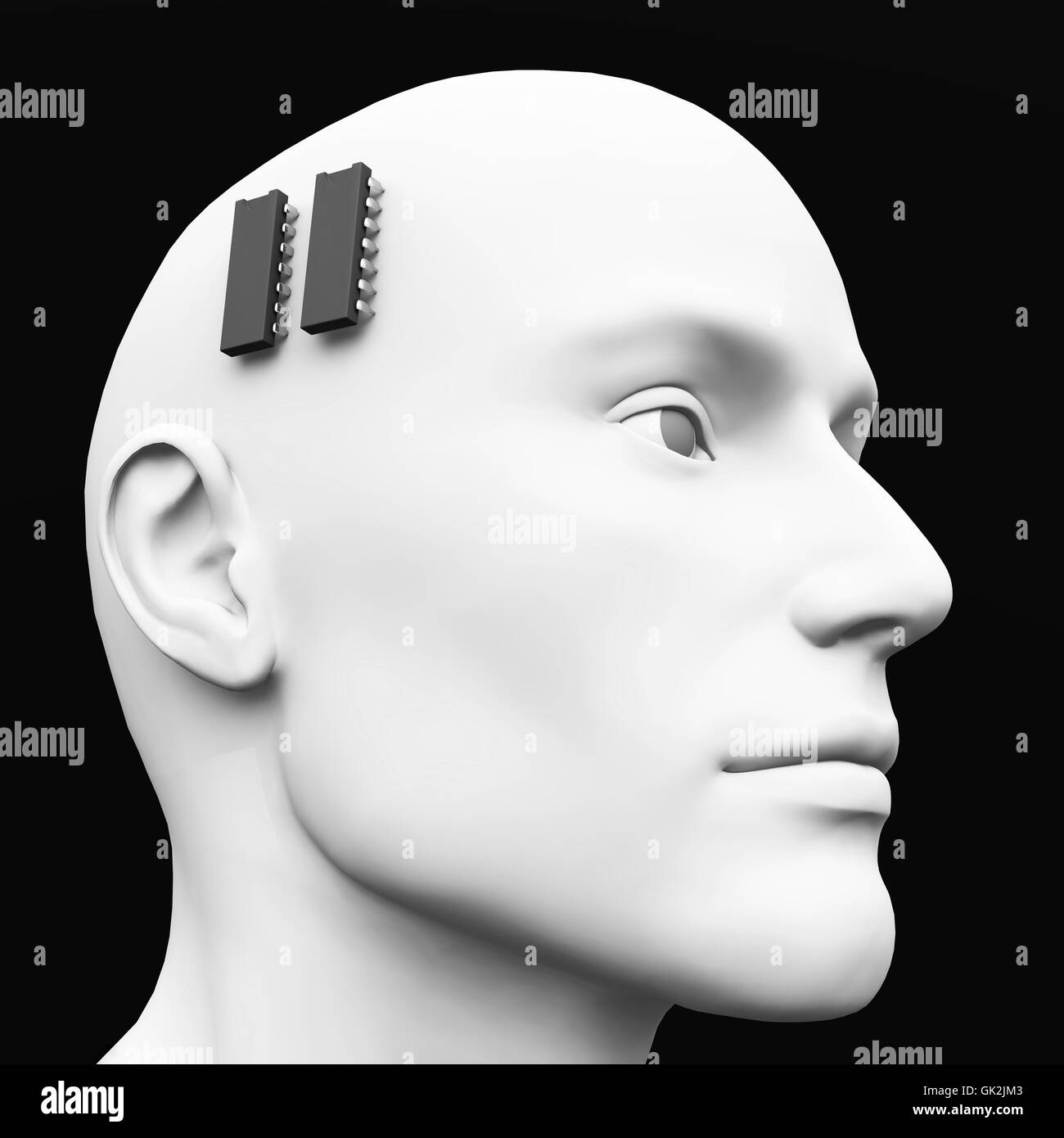 3d - ic brain pacemaker concept - 02 - Stock Image