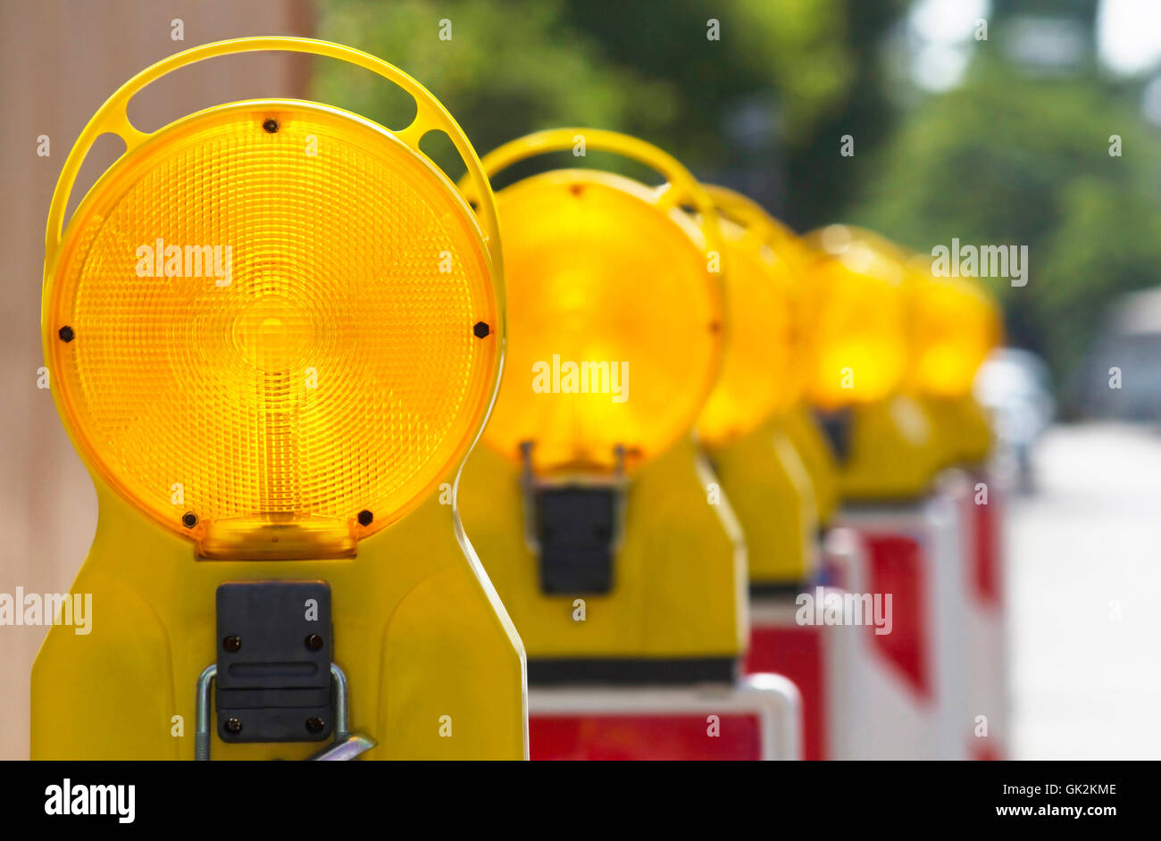 construction site lamps in series - Stock Image