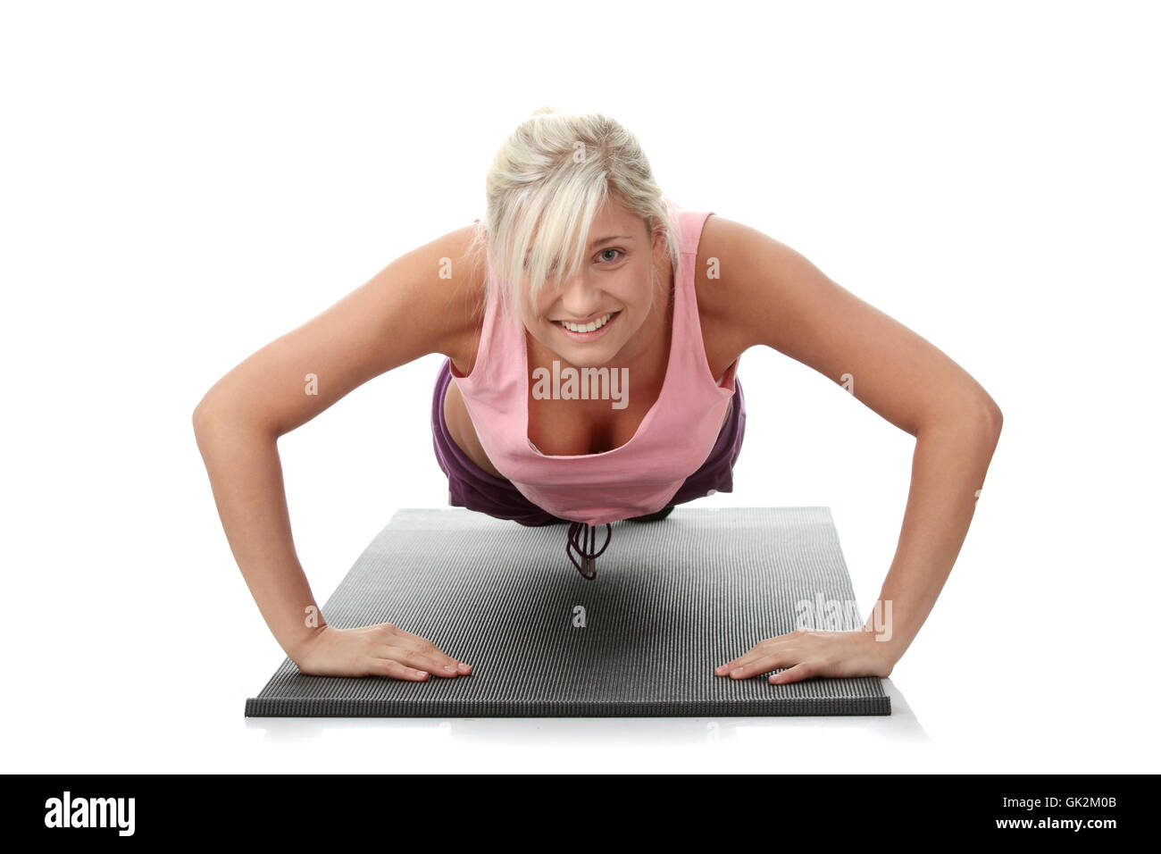 young beautiful woman during fitness time - Stock Image