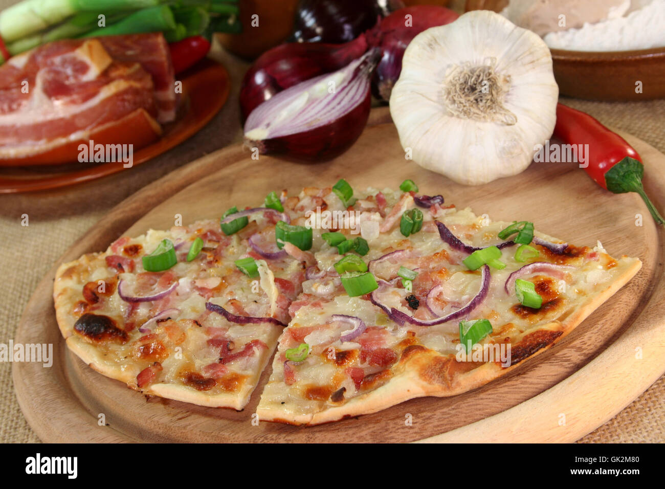 onion ham bacon - Stock Image
