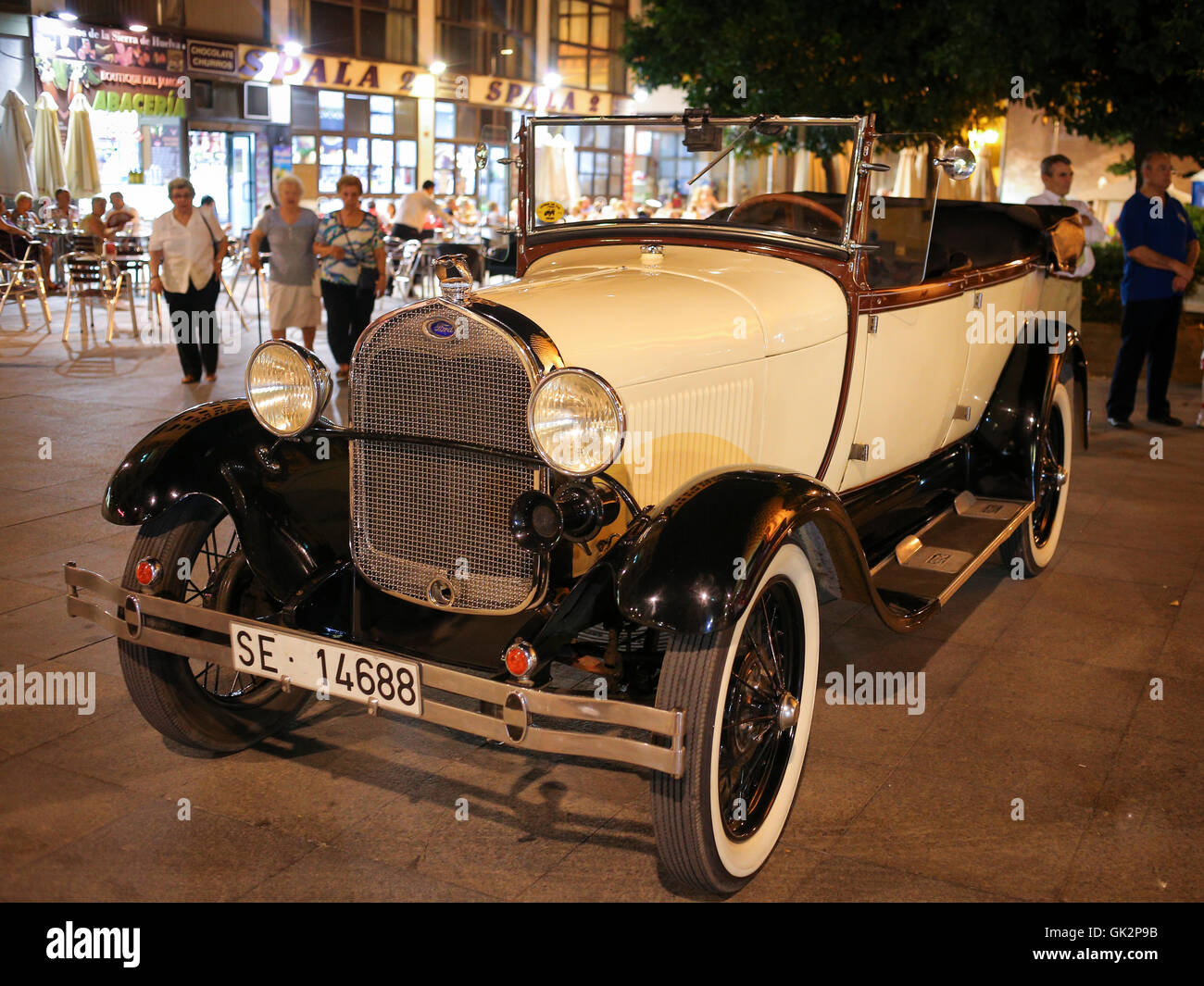 Classic Ford under Las Setas, Seville - Stock Image