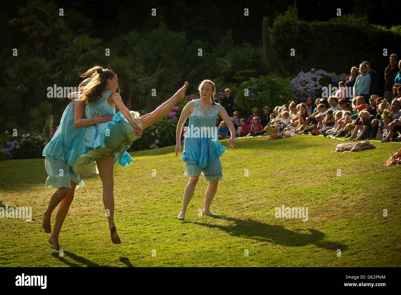 Cscape Dance Company perform their spectacular Neptunalia at Trebah Gardens in Cornwall. - Stock Image