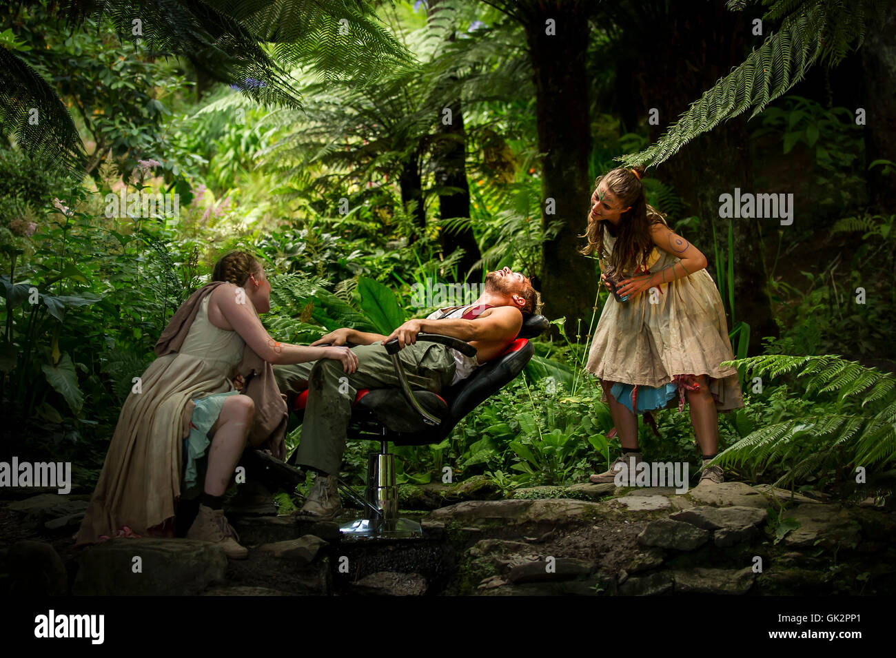 Cscape Dance Company performing their spectacular Neptunalia at Trebah Garden in Cornwall. - Stock Image