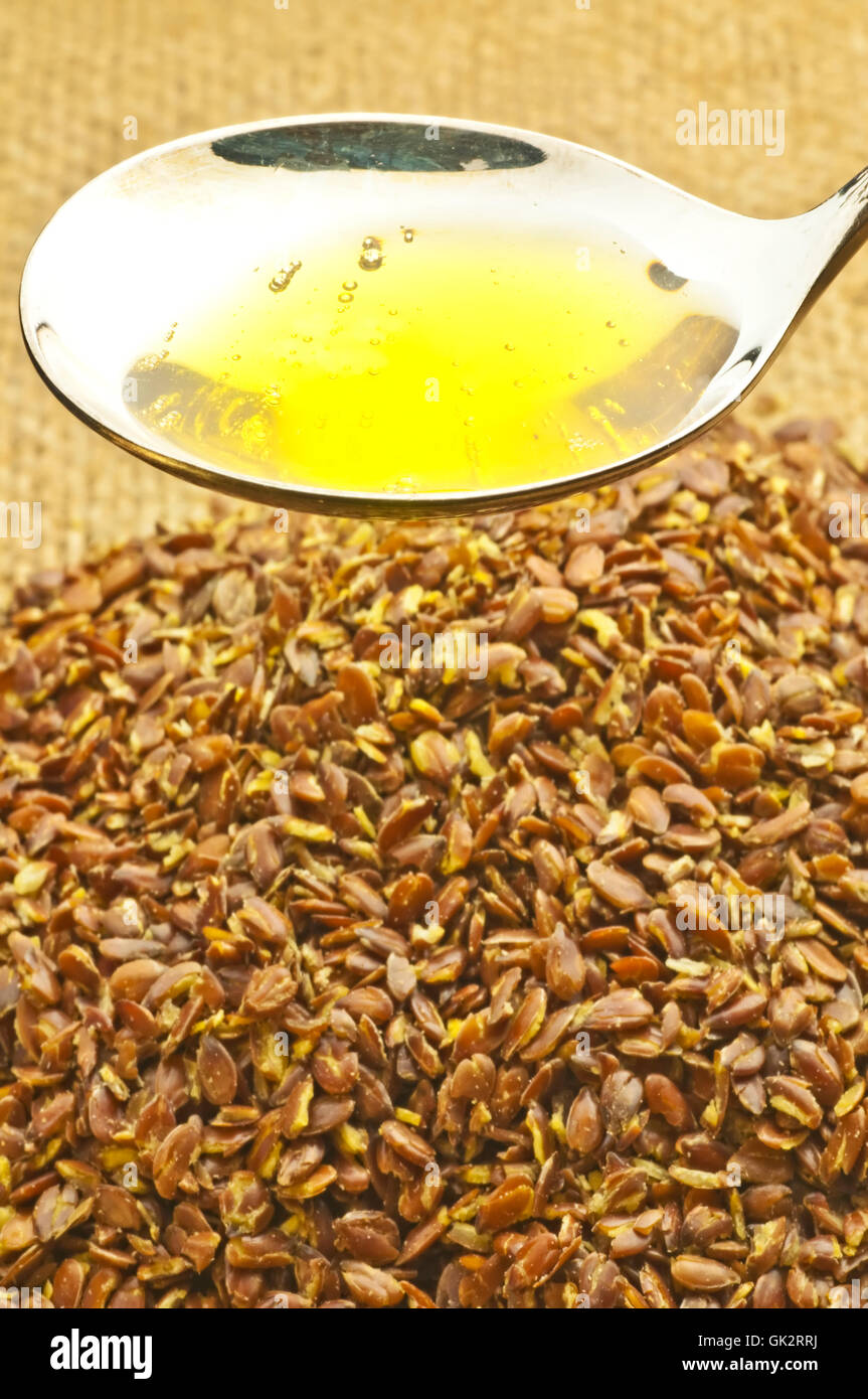 flaxseed and flaxseed oil Stock Photo