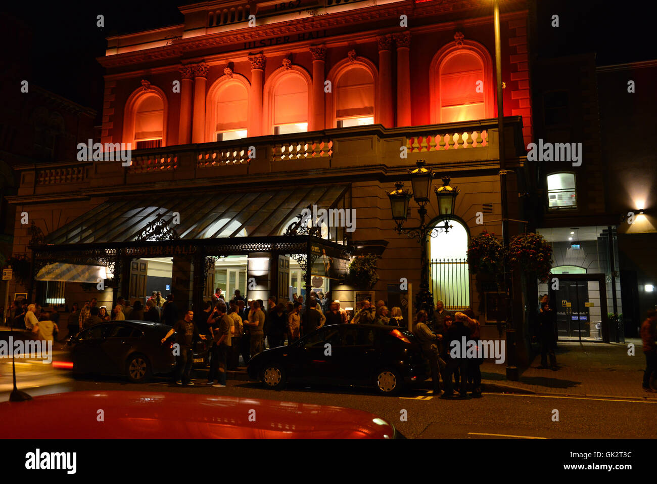 Ulster Hall at night after a concert, Belfast - Stock Image