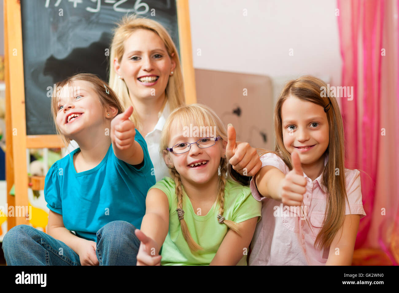 mother with her school children - Stock Image