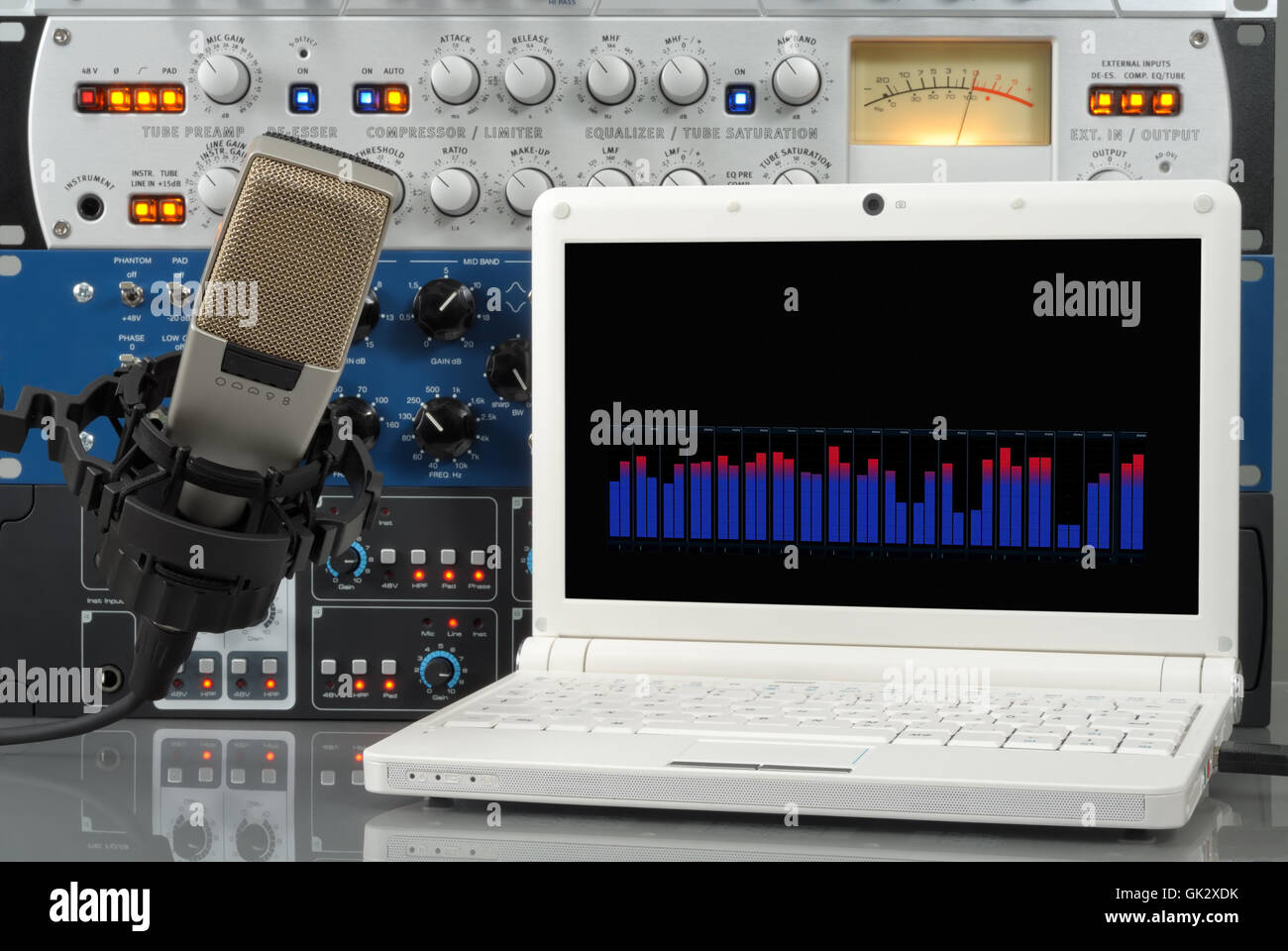 audio setup in the digital studio - Stock Image