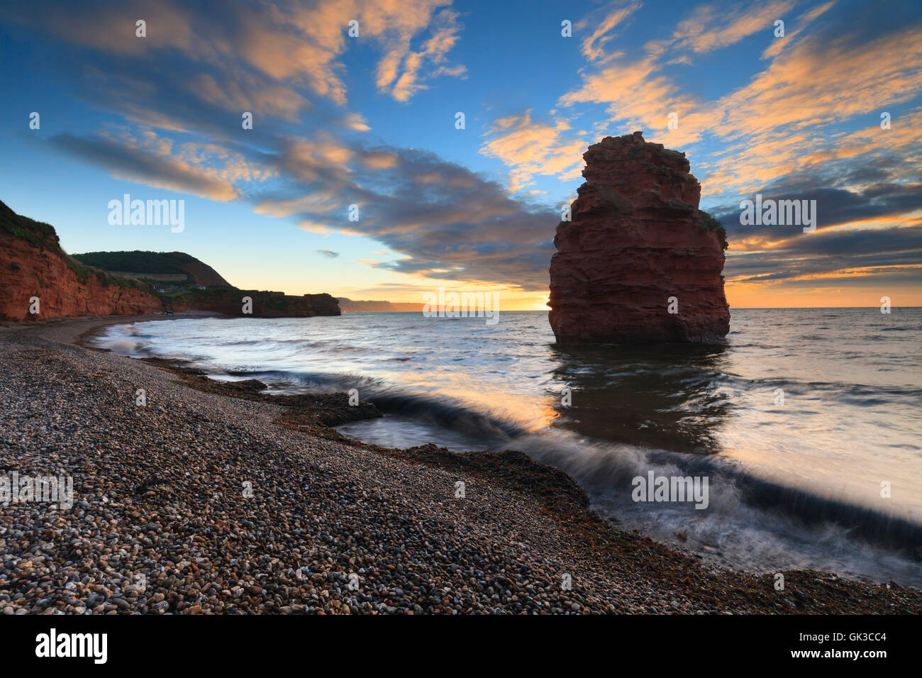 A sandstone sea stack at Ladram Bay, near Sidmouth in south east Devon. - Stock Image