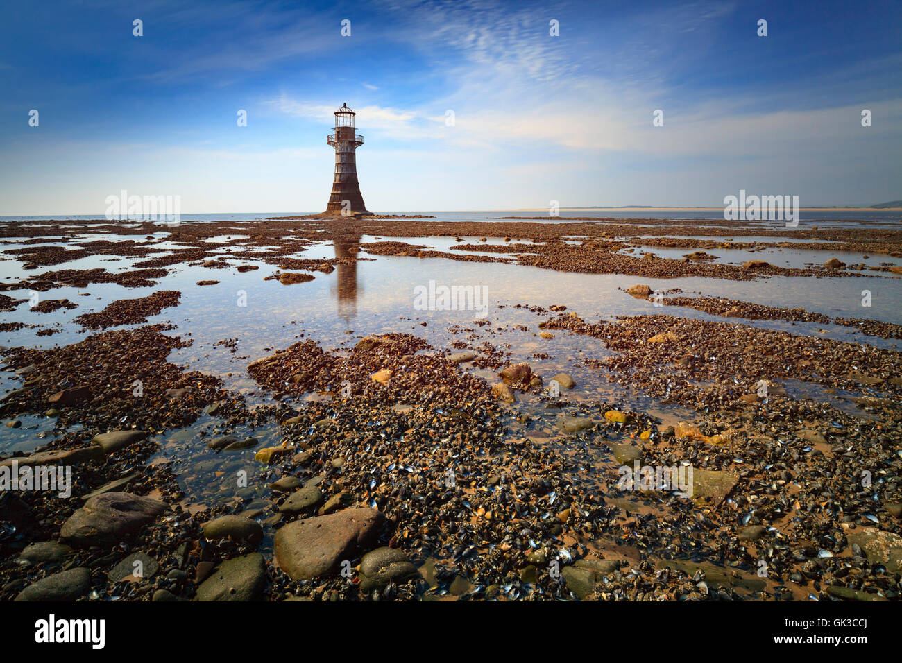 Whiteford Lighthouse on the North Western point of the Gower, Wales. - Stock Image