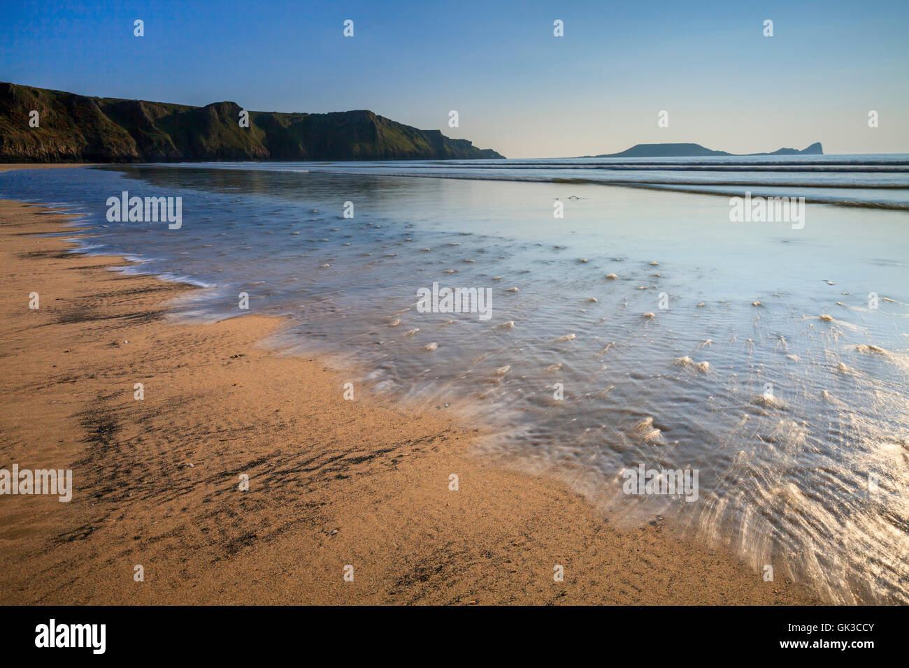 Worms Head captured from Rhossili Beach, Gower, Wales - Stock Image